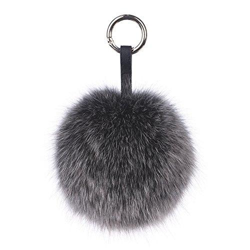 Ferand Echter Pelz-Ball Schlüsselanhänger, Fuchs Taschenanhänger Pelzbommel, Pelz-Anhänger für Handtaschen, Rückspiegel im Auto, 13cm, Schwarzer Frost