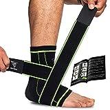 OXENSPORT Sprunggelenk Bandage Set & Einzeln, Bandage Fußgelenk zur Stabilisierung des Knöchels, Achillessehne Bandage mit extra Knöchelband, Fussbandagen für Damen & Herren (Grün - Einzeln, X-Large)