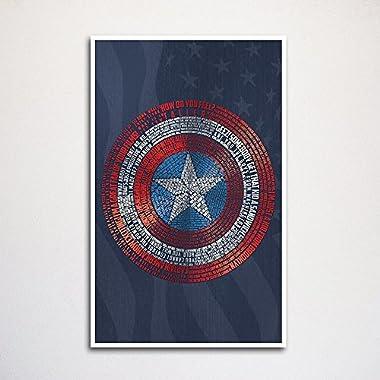 Captain America Shield word art print -11x17  | wall home decor | typography art | comic book art | geeky gift