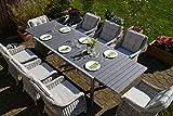 bomey Essgruppe Neapel XL in Grau I 9-teilige Garnitur I Rattan-Sessel Set bestehend aus 8 Sesseln und einem verlängerbaren Tisch auf 305 cm I Polstern in Beige I Für Garten + Terrasse +...
