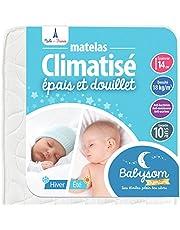 Babysom – babymadrass | barnmadrass sommar/vinter – 60 x 120 cm – andas – luftigt kallskum – höjd 14 cm