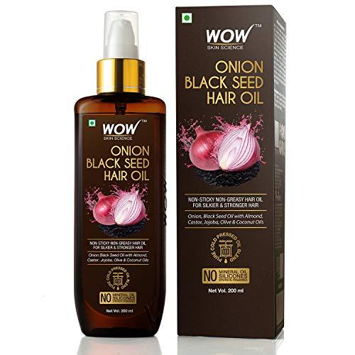 WOW Zwiebel-Schwarzkümmel-Haaröl – fördert das Haarwachstum – kontrolliert den Haarausfall, kein Mineralöl und Silikone, 200 ml