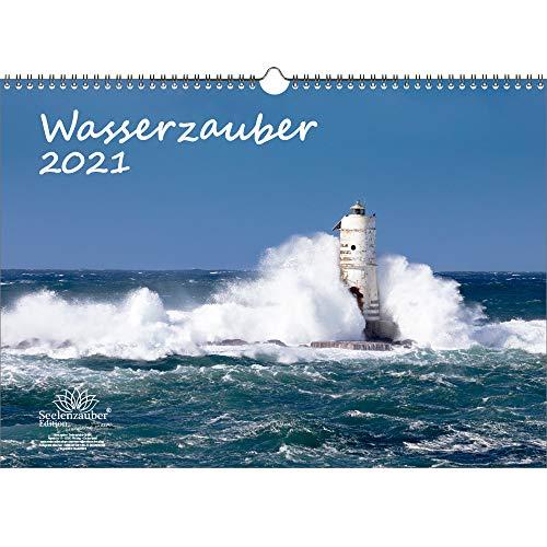Wasserzauber DIN A3 Kalender für 2021 Wasser und Wasserfälle - Geschenkset Inhalt: 1x Kalender, 1x Weihnachts- und 1x Grußkarte (insgesamt 3 Teile)