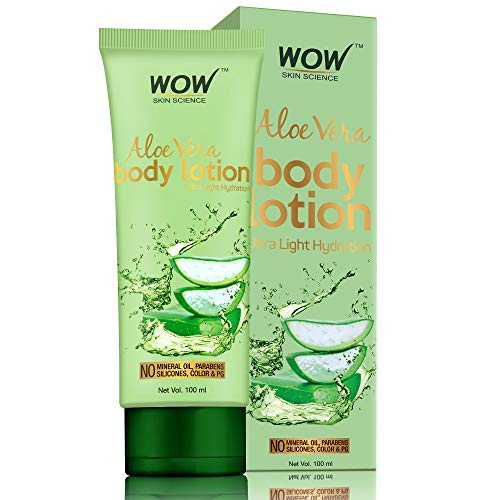 WOW Skin Science Aloe Vera Body Lotion - Ultra Light Hydration - No Mineral Oil, Parabens, Silicones, Color & Pg, 100 ml