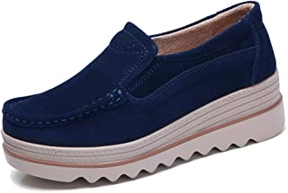 Best womens breathable suede round toe slip on platform shoes Reviews