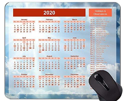 Kalender für 2020 Jahre Gaming Mouse Pad, Blue Sky Themed Mouse Pad mit genähtem Rand