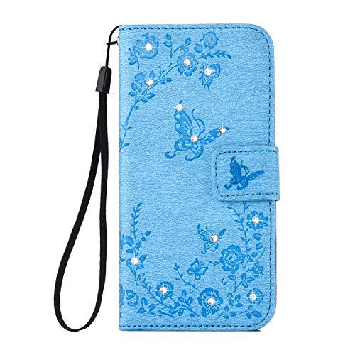 Samsung Galaxy A5 2017 Hülle, Alfort Lederhülle Flip PU Leder Hülle für SSamsung Galaxy A5 2017 Smartphone Tasche Handytasche mit Standfunktion & Kartenfächer (Blau)
