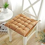 YuYiY Juego de 2 cojines de asiento de comedor, de tela Oxford, cuadrados, de 16 puntos, para silla de oficina, para patio, jardín, color amarillo, 2 unidades