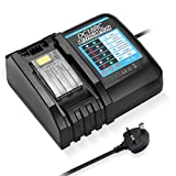 Powerextra Replacement Battery Charger for Makita 18V 14.4V DC18RC DC18RA DC18RD Compatible with BL1860 BL1850 BL1840 BL1830 BL1820 BL1430 BL1440,Replacement Charger 18V with UK Plug