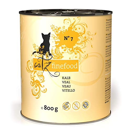 catz finefood N° 7 Kalb Feinkost Katzenfutter nass, verfeinert mit Aprikose & Ananas, 6 x 800g Dosen