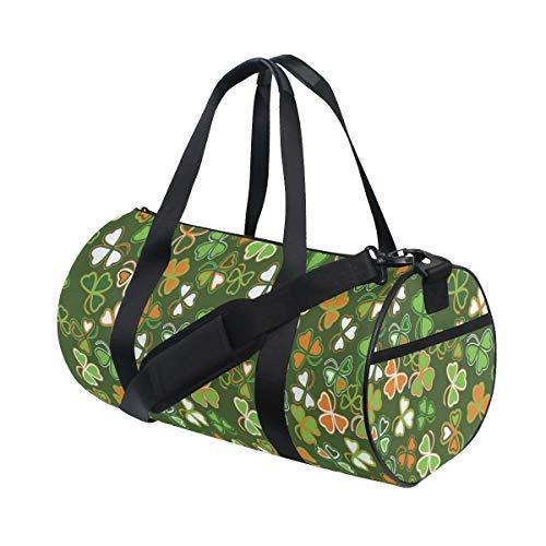 ZOMOY Sporttasche,Natur Glücksklee Print,Neue Bedruckte Eimer Sporttasche Fitness Taschen Reisetasche Gepäck Leinwand Handtasche
