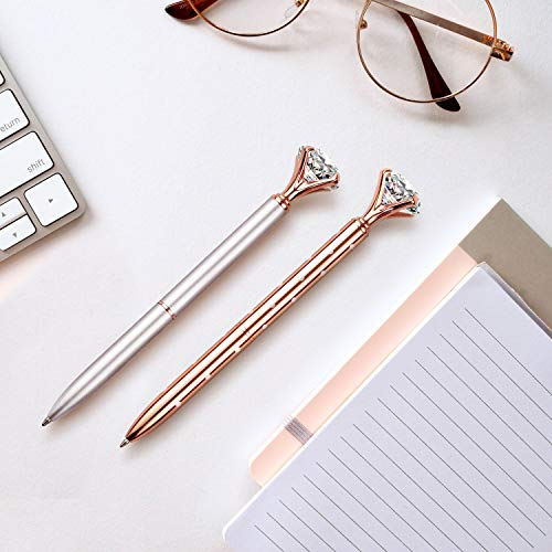 16 PCS Diamond Pen With Big Crystal Bling Metal Ballpoint Pen, Office Supplies And School, Rose Gold/White Rose Polka Dot/Silver/Rose Gold With White Polka Dots, Includes 16 Pen Refills Photo #6