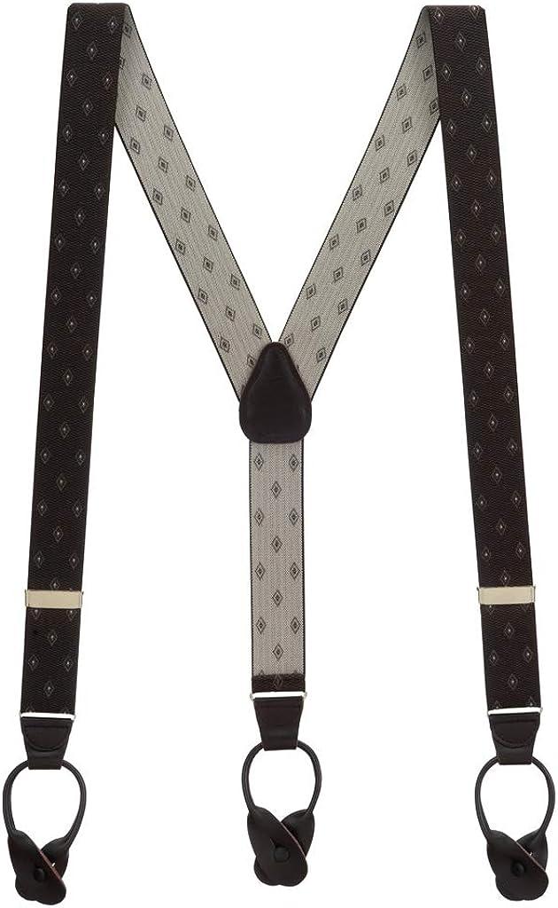 Men's Jacquard Woven Diamond Suspenders - BUTTON
