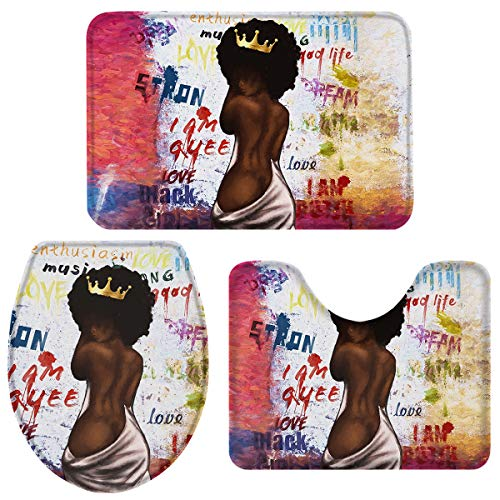 Fancyine 3 Pieces Bath Rugs Sets Sexy Black Girl with Crown Soft Non-Slip Absorbent Toilet Seat Cover U-Shaped Toilet Mat for Bathroom Decor Graffiti Background