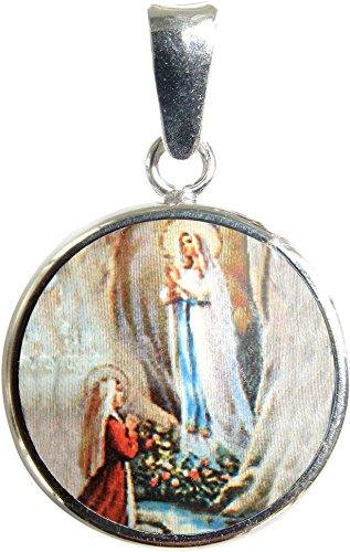 Ferrari & Arrighetti Medalla Virgen de Lourdes de Plata 925 y Porcelana - 1,8 cm