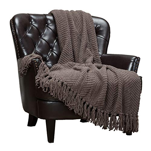 Chanasya Textured Knitted Super Soft Throw Blanket with Tassels Cozy Plush Lightweight Fluffy Woven Blanket for Bed Sofa Couch Cover Living Bed Room Acrylic Brown Throw Blanket (50x65 Inches) Morel