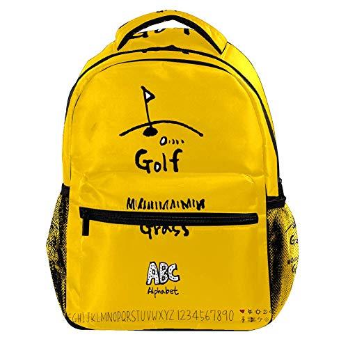 TIZORAX Golf ABC Mochila de Alfabeto Casual, Bolsas de Viaje, Bolsa Escolar para Hombres, Mujeres y niñas