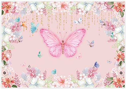 Allenjoy 7x5ft Butterfly Floral Pink Backdrop Watercolor Flower Golden Tassel Fairy Princess Sweet Girls Photography Background Newborn Baby Birthday Party Table Decor Photoshoot Photo Booth Props