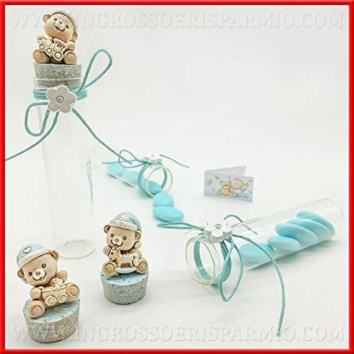 Ingrosso e Risparmio 6 probetas de cristal para peladillas con tapón de corcho y osito de peluche para regalo de nacimiento, para niños (sin caja).