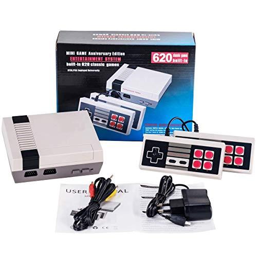 JINLI Console di Gioco retrò Mini Console Classica TV Lettore di Giochi Console di Gioco per Famiglie,costruito in 620 Giochi,Porta ricordi Felici dell'infanzia,Cavo di Uscita AV