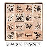 Set di timbri in gomma in legno, timbri da 16 pezzi, timbro con sigillo in gomma decorativo stampato con ingresso a farfalla da sogno per la fabbricazione di carte, artigianato, diario