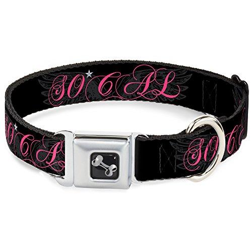 Buckle Down dc-w34567-l Sicherheitsgurt für Hunde, Parfüm, Aufschrift, schwarz/grau/pink
