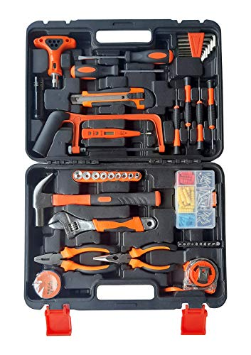 IBELL TB145-9, 145 Piece Socket Alloy Steel Wrench Auto Repair Tool Combination Package Mixed Tool Set Hand Tool Kit with Plastic Toolbox Storage Case
