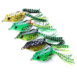 OriGlam ?Happy Shopping Day? 5pcs Topwater Frog Lures, Frog Crankbait Tackle, Frog Fishing Lures Soft Fishing Baits, Hollow Body 3D Eyes Frog Lure Weedless Swimbait with Hook for Bass Pike