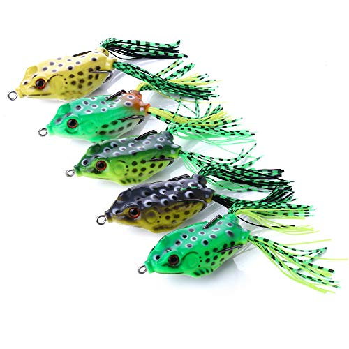 OriGlam 【Happy Shopping Day】 5pcs Topwater Frog Lures, Frog Crankbait Tackle, Frog Fishing Lures Soft Fishing Baits, Hollow Body 3D Eyes Frog Lure Weedless Swimbait with Hook for Bass Pike