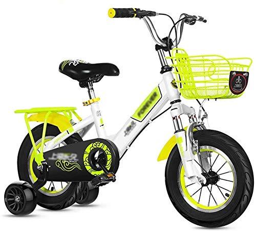 XBSLJ Kinderfahrräder, Klappräder Mit Korbglocke Mit Stützrädern und Rücktrittbremse 12-20 Zoll Räder Skid Freestyle Bike für Jungen & Mädchen-18-Zoll-Räder_Gelb