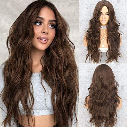 WIGODDESS Brown Wig Long Wavy Curly Natural Looking 22 inch Wave Dark Brown Curly Synthetic Heat Resistant Fiber Wig for Women Daily Makeup Party Daily Use