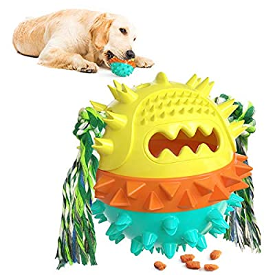 Dog Treat Ball Toys for Boredom, 4 in 1 Multifunctioanl Molar Squeaky Bouncing Food Dispenser Toy, Interactive Funny Puzzle Indestructible Puppy Toy with Bite Rope for Small Medium Large