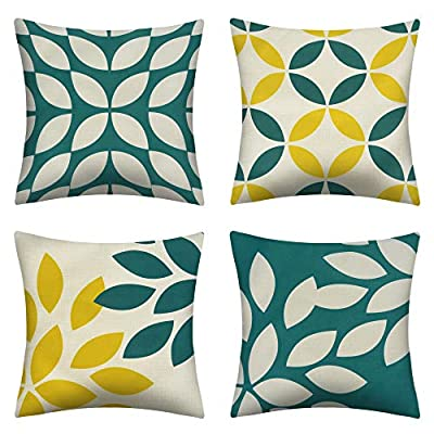 pendali Throw Pillow Covers, Modern Geometry Cushion Pillowcases, Decorative Outdoor Polyester Fabric Pillow Case for Living Room Bed Sofa Chair Couch, Green and Beige (18x18 Inches, Set of 4)