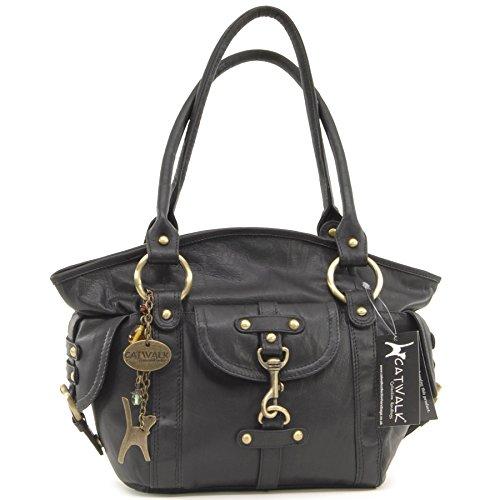 Catwalk Collection Handbags - Leder - Umhängetasche/Lederhandtasche/Schultertasche - KARLIE - Schwarz