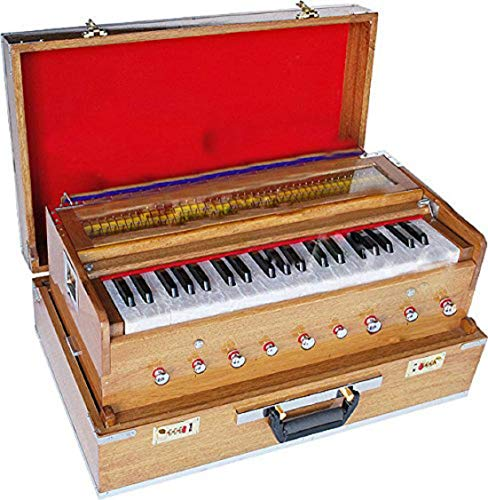 Bass & Male Reed, Traveler/Portable/Folding Type 9 Stops- 5 Main & 4 Drones, 3½ Octaves, Teak Color, Coupler, Gig Bag, 440 Hz, Suitable for Yoga, Bhajan, Kirtan Hand Pumped Harmonium
