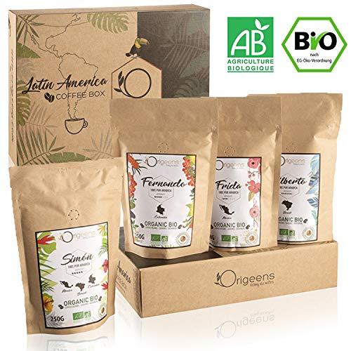 ☘️ BIO Kaffeebohnen Probierset 1kg | Premium Arabica Kaffee Ganze Bohnen Set 4x250g | Traditionelle Röstung | Säurearm | Geschenk-Idee