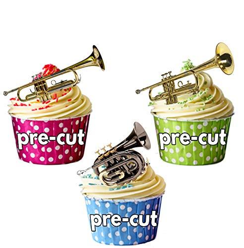 Trompette Mix – comestibles pour cupcakes col montant (Lot de 12)