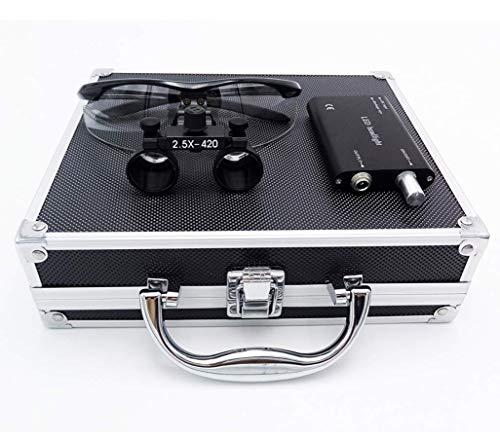 HYYQG 2,5 X 420Mm Arbeitsabstand Chirurgische Binokularlupen Optisches Glas Mit LED Scheinwerferlampe + Aluminium Box Schwarz