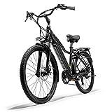 PHASFBJ Electric Mountain Bike, 26 Inch Electric Bicycle Fat Tire e-Bike 7 Speeds Beach Cruiser Sports Mountain Bikes Full Suspension Pedal Assisted E-bike,Black,10.4ah