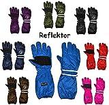 Unbekannt Thermo Fingerhandschuhe - extra Langer Schaft -  BLAU - mittel  - Größe: 9 bis 12 Jahre - wasserdicht + atmungsaktiv Thinsulate -Reflektor ! Baumwolle / Ski..
