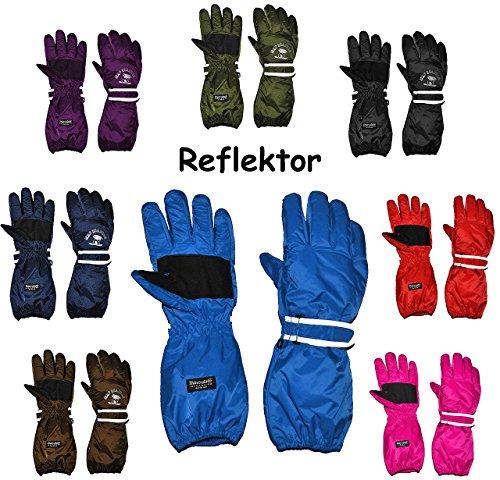 alles-meine.de GmbH Thermo Fingerhandschuhe - extra Langer Schaft -  BLAU - dunkel  - Größe: 7 bis 9 Jahre - wasserdicht + atmungsaktiv Thinsulate -Reflektor ! Baumwolle / Ski-..