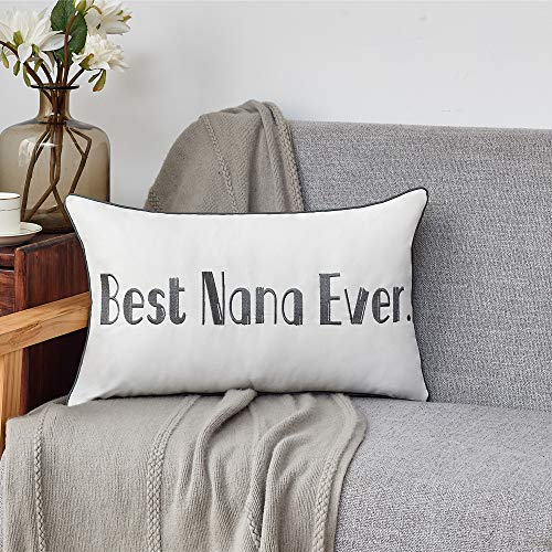 Sunkifover Nana Gifts Best Nana Ever Decorative Throw Pillow Cover,Embroidery 12 X 20 Inch Lumbar Pillow Case Cushion Cover for Thanksgiving Christmas Mothers Day.