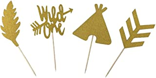 Glitter Gold Wild One Feather Arrow Teepee Cake Cupcake Toppers Picks for First One Birthday Boho Tribal Theme Party Decorations 24 PCS