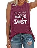 Not All Who Wander are Lost Tank Top Women's Sleeveless Workout Tees Vest (Medium, Purple)
