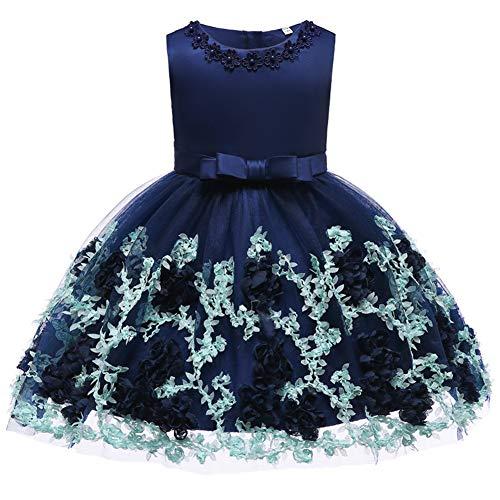 FYMNSI Vestido de Niña de Las Flores de Fiesta de Cumpleaños de Princesa Tutú de Encaje de Bebé para Niños Casual Elegante Vestido Sin Mangas Ropa Falda Corta Boda Azul Marino 18-24 Meses