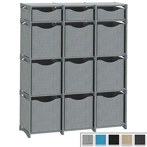 12 Cube Organizer | Set of Storage Cubes Included | DIY Closet Organizer Bins | Cube Organizers and Storage Shelves Unit | Closet Organizer for Bedroom Playroom Livingroom Office Dorm Grey