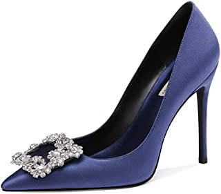 Silk Rhinestone Wedding Shoes High Heels Women's New Wedding Shoes Dinner Large Size Fine with Single Shoes Female Small Code Blue Bridesmaid Shoes (Color : Blue, Size : 36)