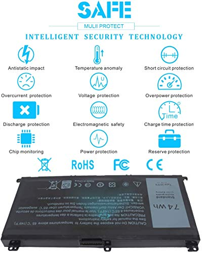 K KYUER 11.1V 74Wh 357F9 Laptop Akku für Dell Inspiron 15 7000 7566 7567 7557 7559 5576 5577 INS15PD-1548B 1548R 1748B 1748R 2548R 2548B 2748R 0GFJ6 71JF4 0357F9 Gaming Notebook Replacement Battery