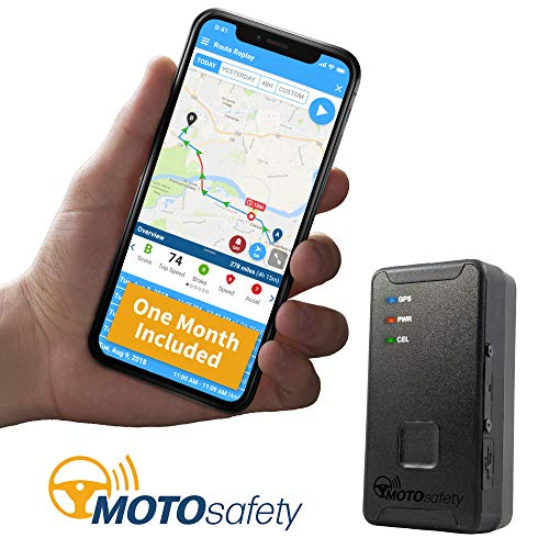 MOTOsafety Mini Portable Real Time Location Personal GPS Tracker to put in a backpack, luggage, purse, tool boxes for adults, and teens with 4G ONE MONTH SERVICE INCLUDED