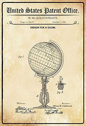 NWFS Patent Entwurf für EIN Globus Blechschild Metallschild Schild Metal Tin Sign gewölbt lackiert 20 x 30 cm